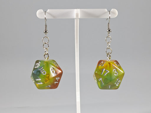 Dice Earrings: D20 - Orange, Yellow, and Blue Gradient