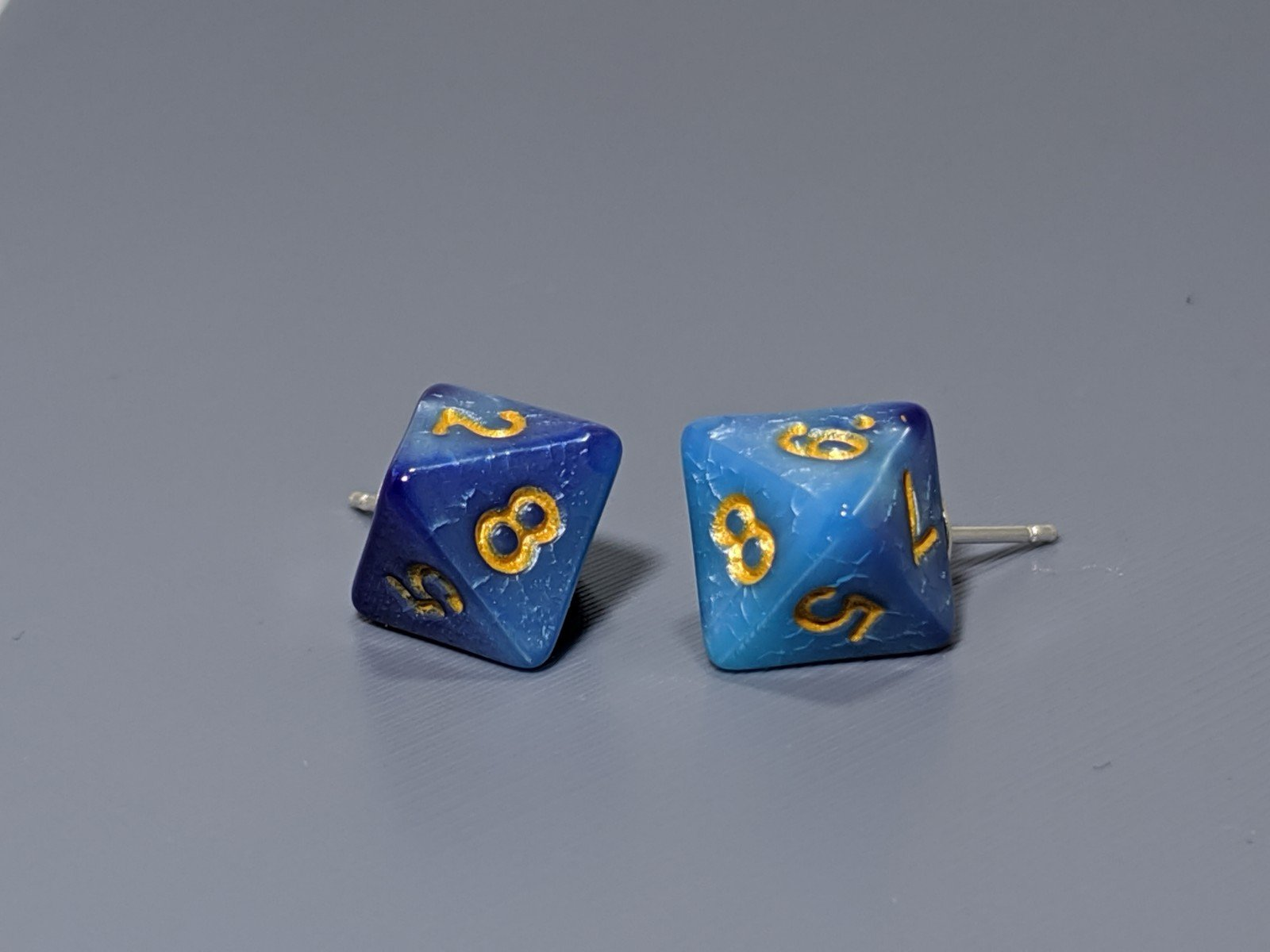 Mini Dice Earrings: D8 Posts - Blue