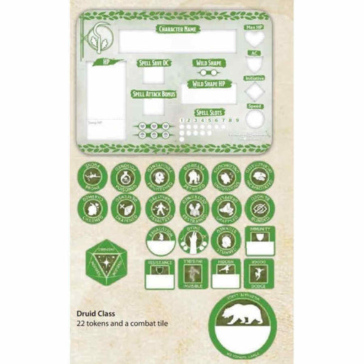 Dungeons & Dragons Token Set: Druid (Player Board and 22 Tokens)