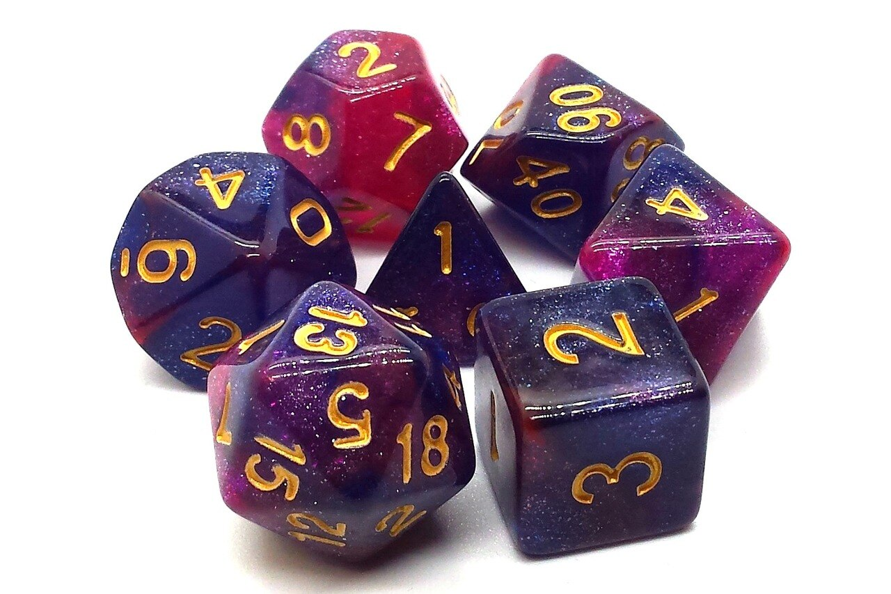 Old School 7 Piece DnD RPG Dice Set: Galaxy - Purple & Red