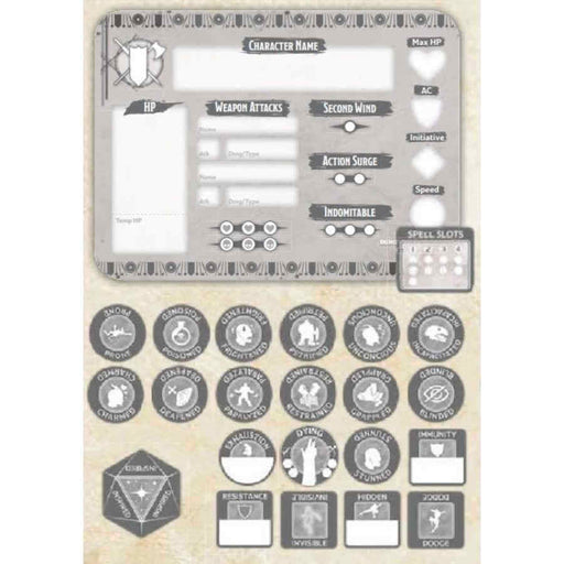 Dungeons & Dragons Token Set: Fighter (Player Board and 22 Tokens)