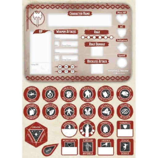 Dungeons & Dragons Token Set: Barbarian (Player Board and 22 Tokens)