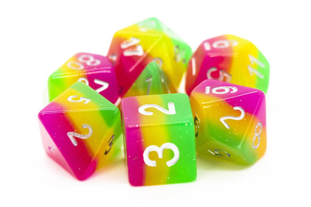 Old School 7 Piece DnD RPG Dice Set: Gradients - Rose Red, Yellow & Green