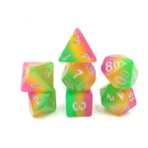 7 Die Set - (Rose Red+Yellow+Green) Layer Dice
