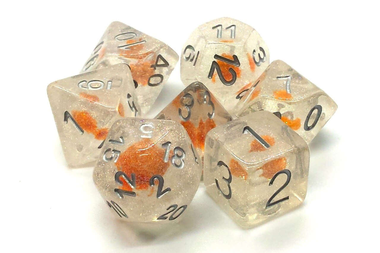 Old School 7 Piece DnD RPG Dice Set: Infused - Iridescent Orange Flower