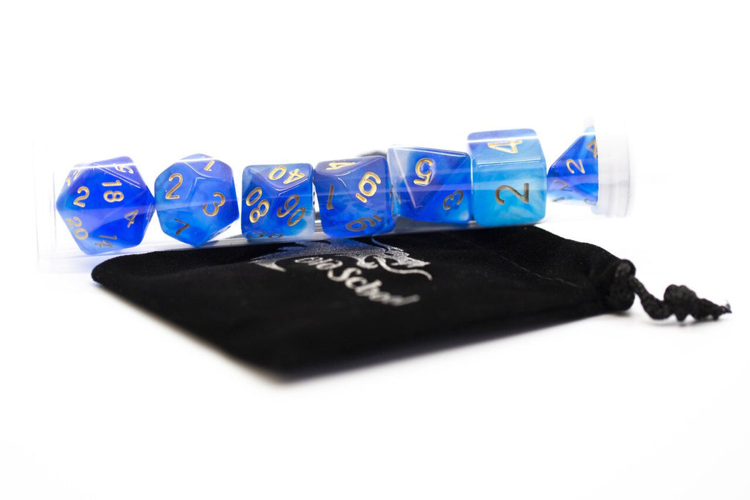 Old School 7 Piece DnD RPG Dice Set: Nebula - Blue
