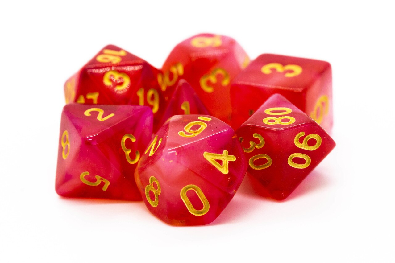 Old School 7 Piece DnD RPG Dice Set: Nebula - Red