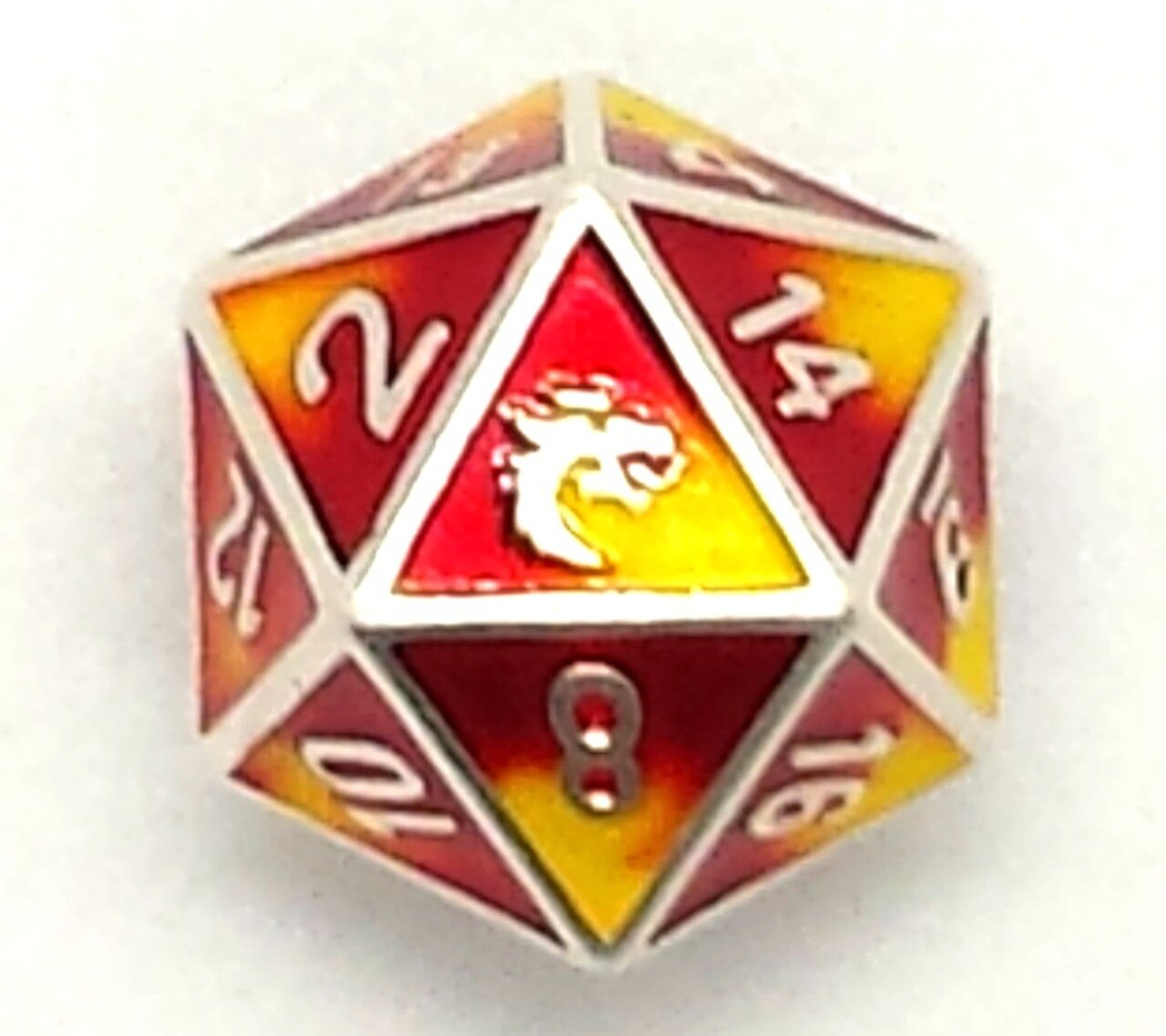 Old School DnD RPG D20 Metal Dice: Dragon Forged - Platinum Red & Yellow