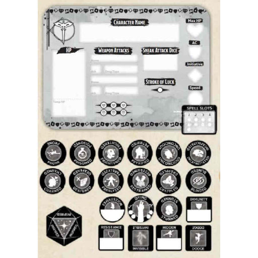 Dungeons & Dragons Token Set: Rogue (Player Board and 22 Tokens)