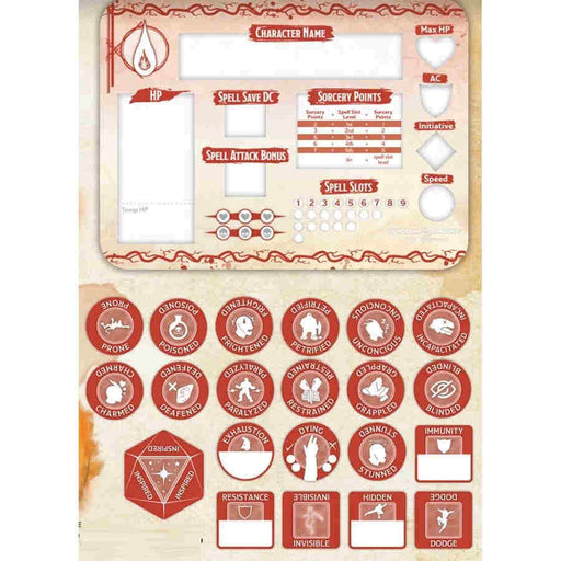 Dungeons & Dragons Token Set: Sorcerer (Player Board and 22 Tokens)