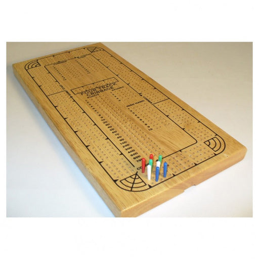 Classic Cribbage Set - Solid Oak - Continuous 4 Track Board with Pegs