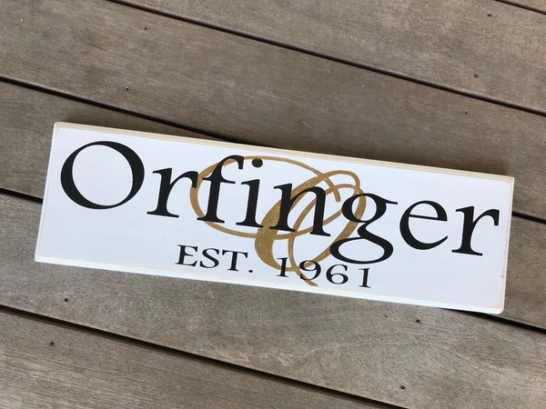 Family Name Monogram Overlay Wood Sign 8x24 inches
