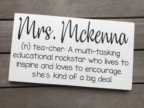 Personalized Teacher Definition Sign