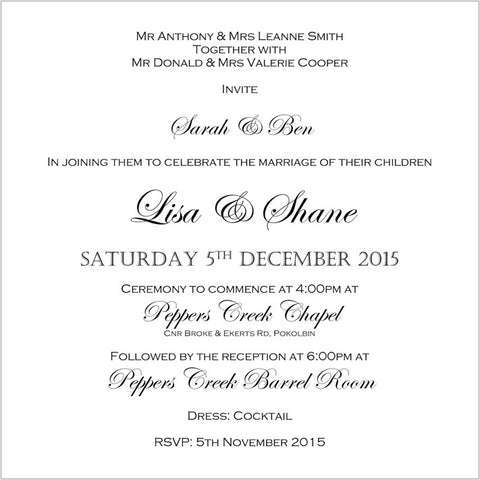 Wedding Invitation Wording White Cherry Invitations