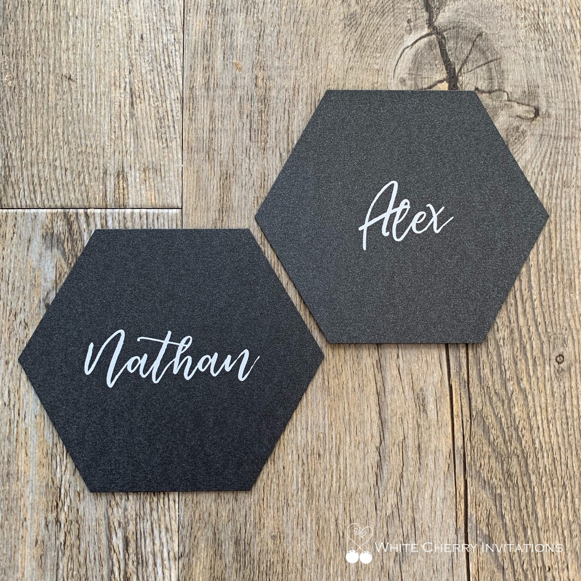 Hexagon (Black) - PLACE CARD