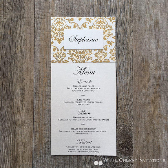Princess Gold Foil Flat Wedding Menu - White Cherry Invitations