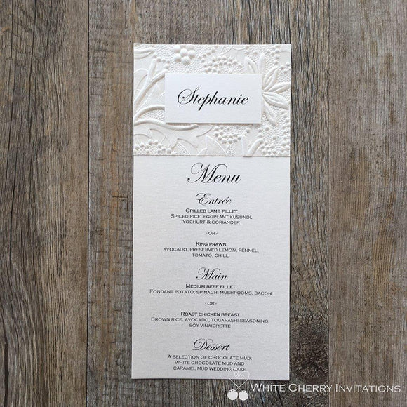 Ivory Floral Flat Wedding Menu - White Cherry Invitations