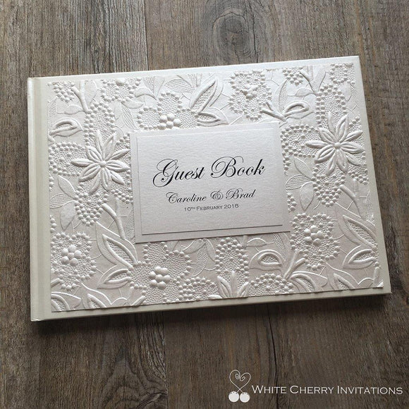 Ivory Floral Wedding Guest Book - White Cherry Invitations