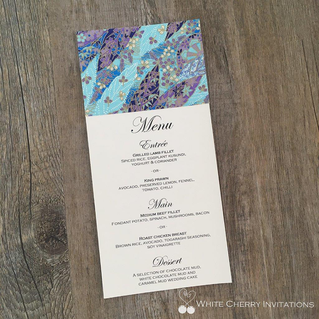 Wedding Flat Menu | White Cherry Invitations | Autumn