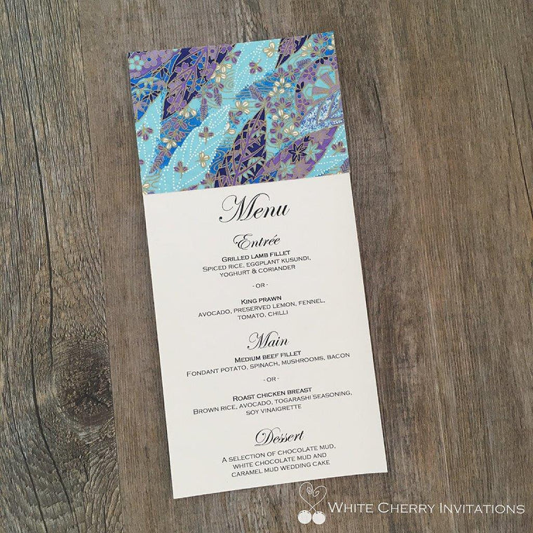 Autumn Blue White Flat Wedding Menu - White Cherry Invitations