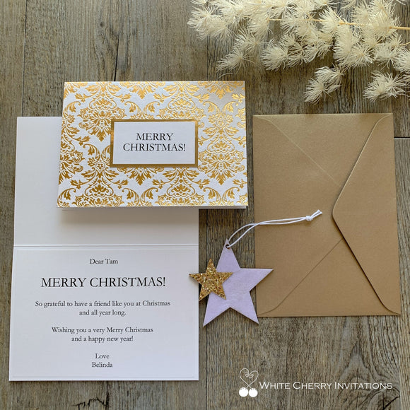 Christmas Card Personalised - Gold
