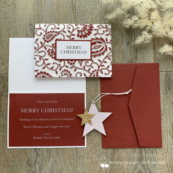 Christmas Card Personalised - Red