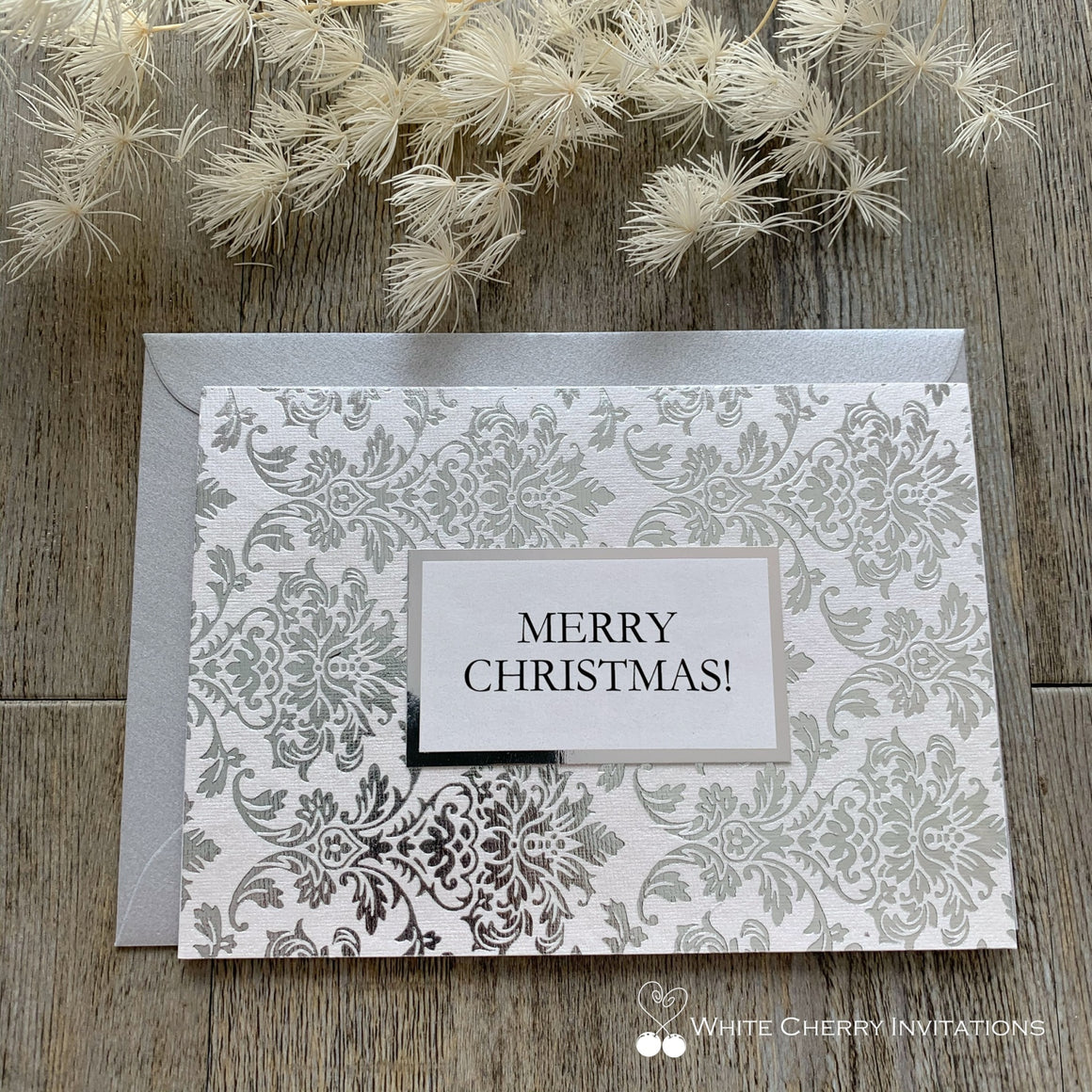 Christmas Card Personalised - Silver