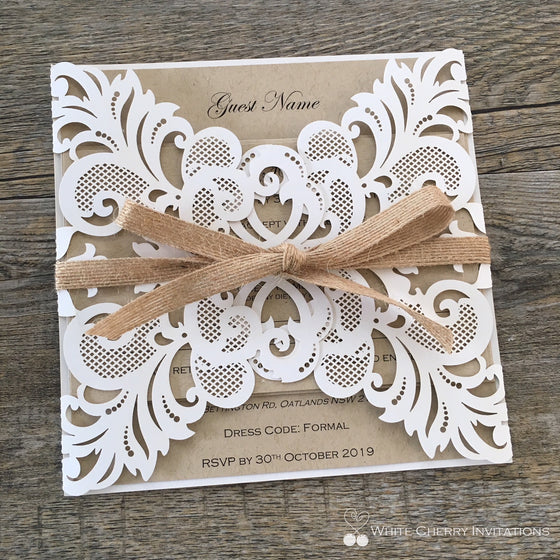 Cinderella (White & Kraft) - INVITATION