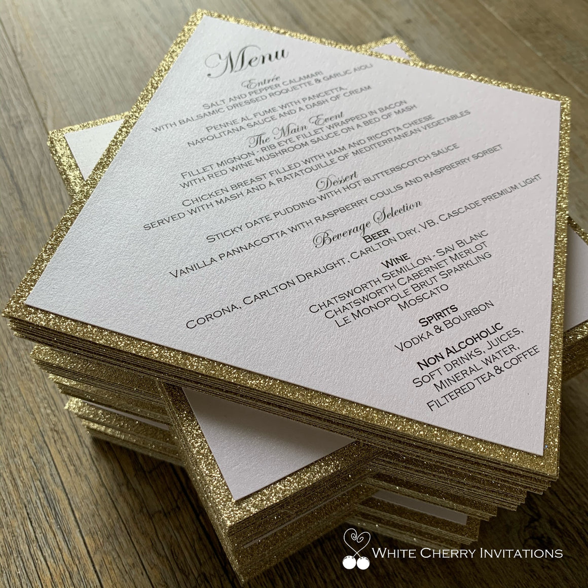 Diamond - GUEST MENU (Gold Glitter & White)