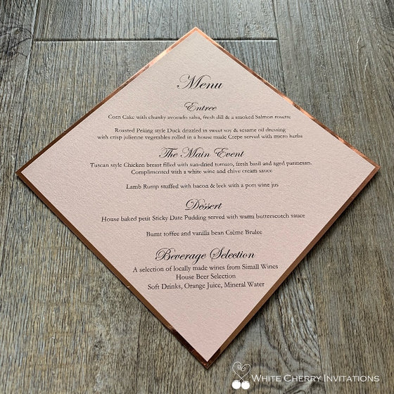 Diamond - GUEST MENU (Blush & Rose Gold)