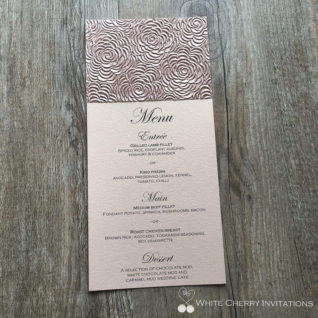 Rose Gold Floret Flat Wedding Menu - White Cherry Invitations