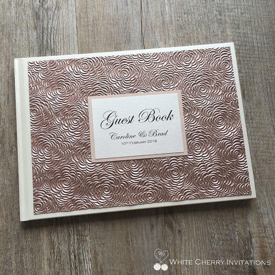 Rose Gold Floret Wedding Guest Book - White Cherry Invitations