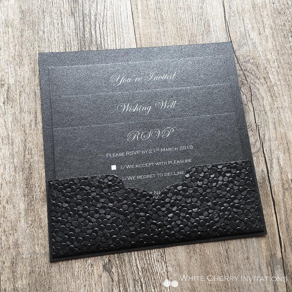 White Cherry Invitations - Eternity Wedding Invitation Black Pebbles