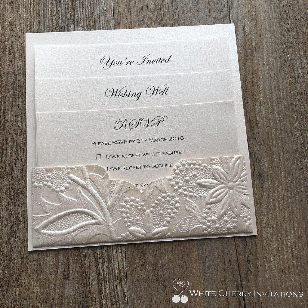 White Cherry Invitations - Eternity Wedding Invitation Ivory Floral