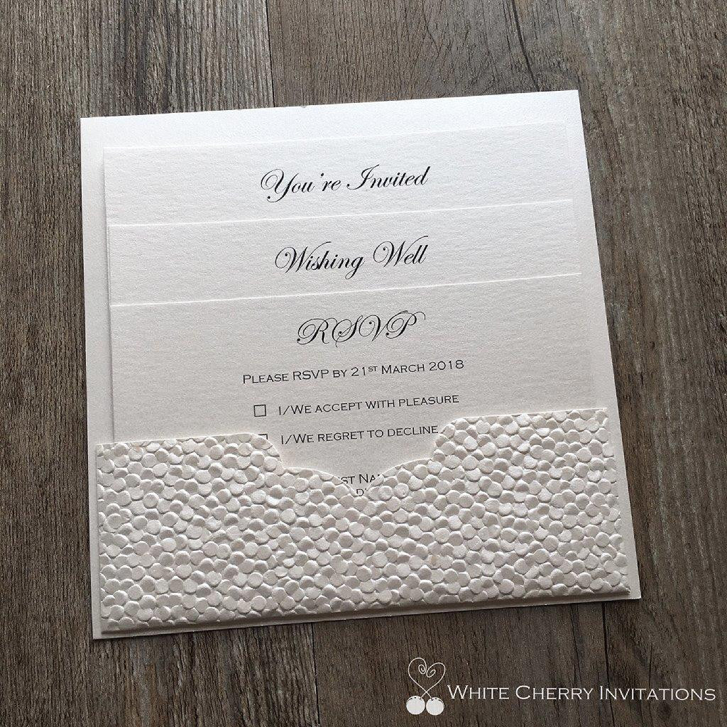 White Cherry Invitations - Eternity Wedding Invitation Ivory Pebble