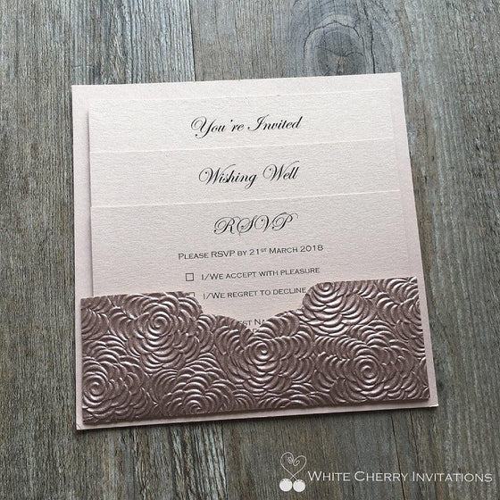 White Cherry Invitations - Eternity Wedding Invitation Rose Gold