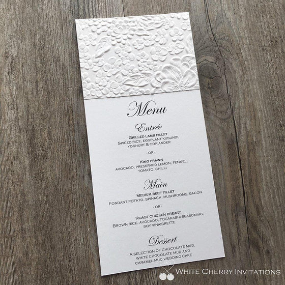 White Matte Floral Flat Wedding Menu - White Cherry Invitations