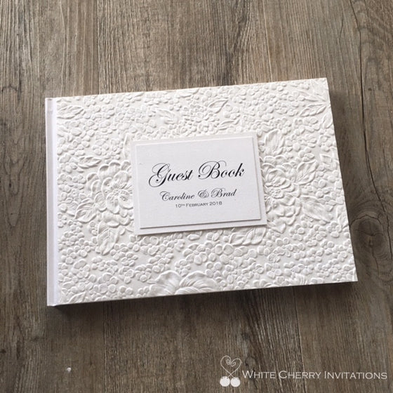 White Matte Floral Wedding Guest Book - White Cherry Invitations