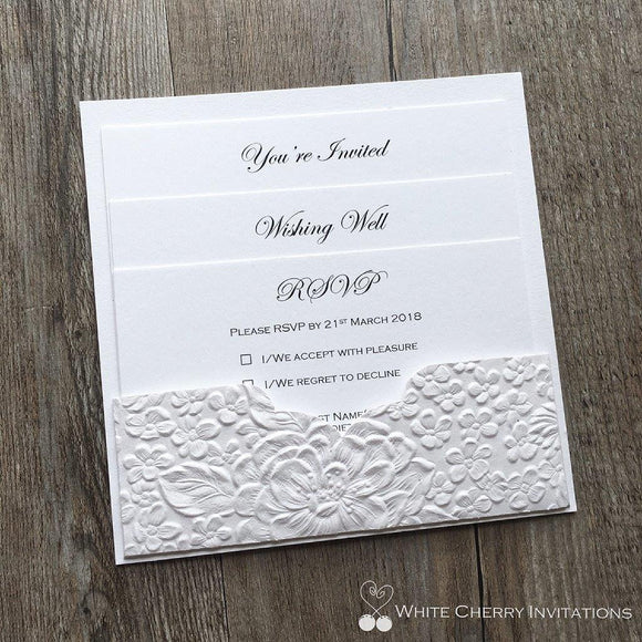 White Cherry Invitations - Eternity Wedding Invitation Matte White