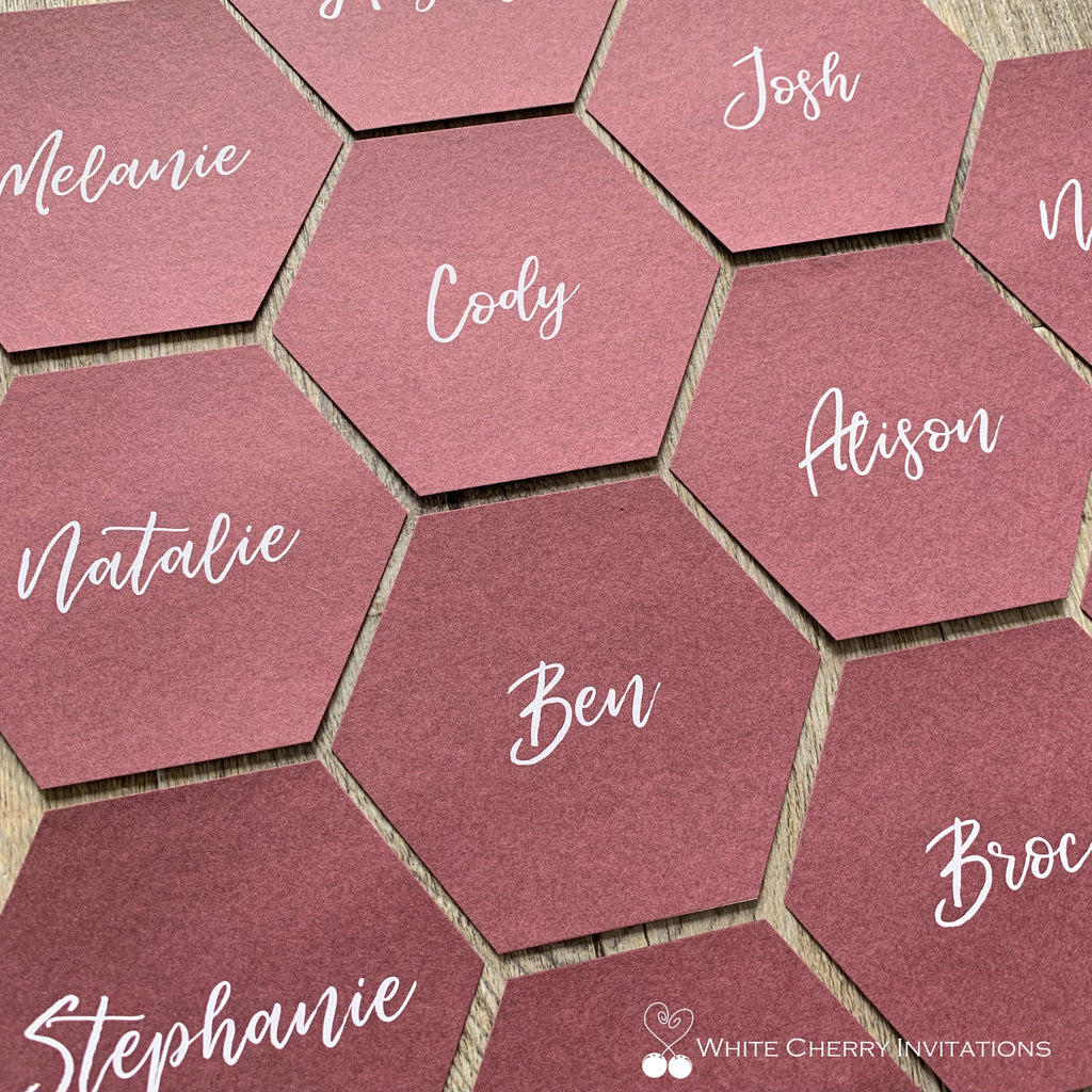 Hexagon (Burgundy) - PLACE CARD