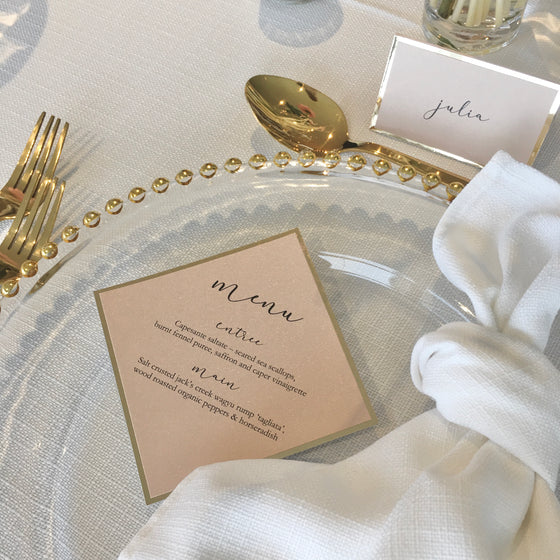 Diamond Mini - GUEST MENU (Blush & Gold)