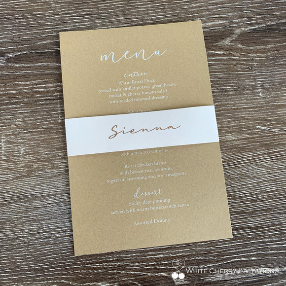 Botanica (Latte/Almond) Menu Place Card