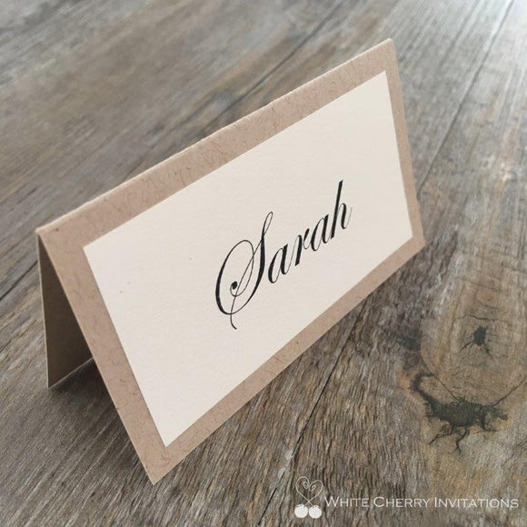 White Cherry Invitations - Light Kraft Place Card