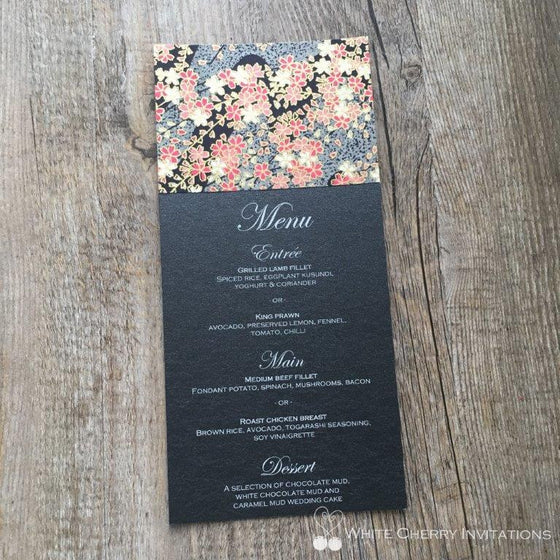 Night Garden Flat Wedding Menu - White Cherry Invitations