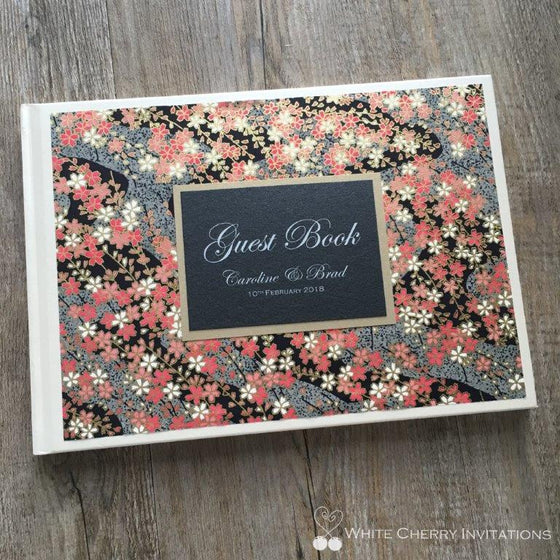 Night Garden Wedding Guest Book - White Cherry Invitations
