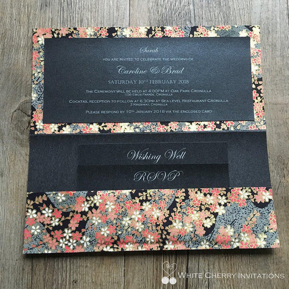 White Cherry Invitations - Night Garden Wedding Invitation