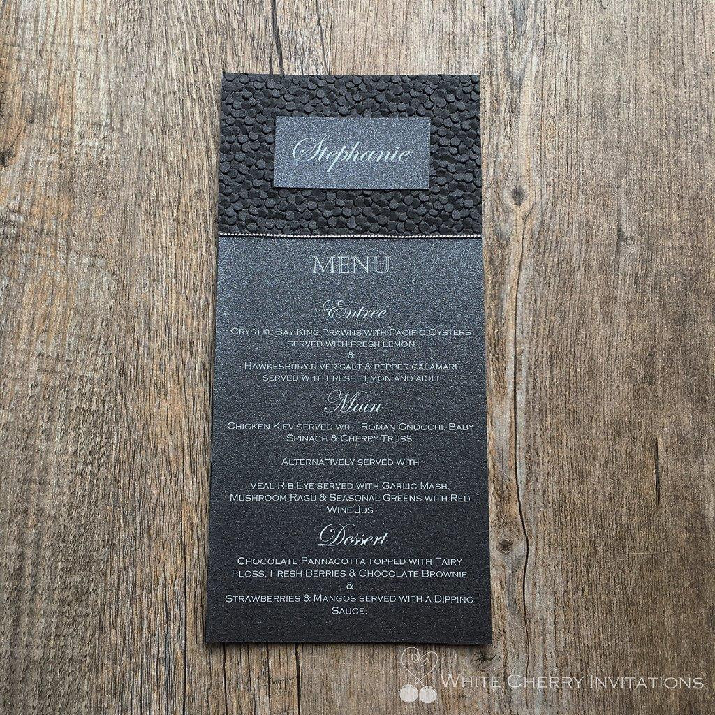 Black Pebbles Flat Wedding Menu - White Cherry Invitations