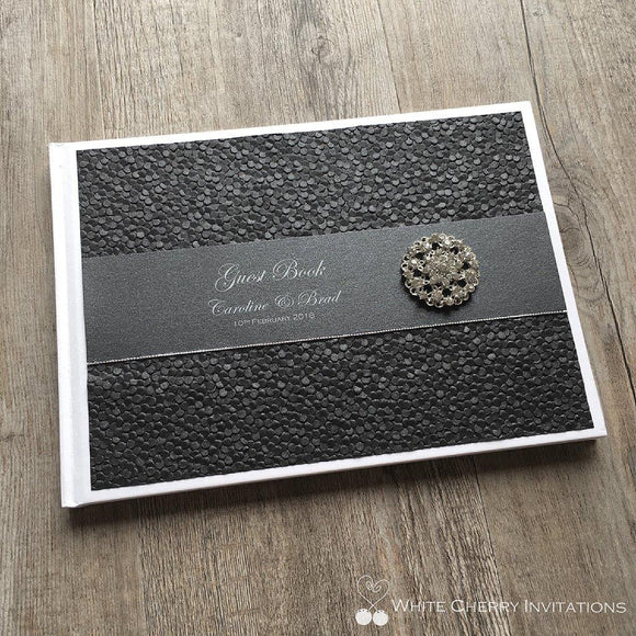 Black Pebbles Wedding Guest Book - White Cherry Invitations