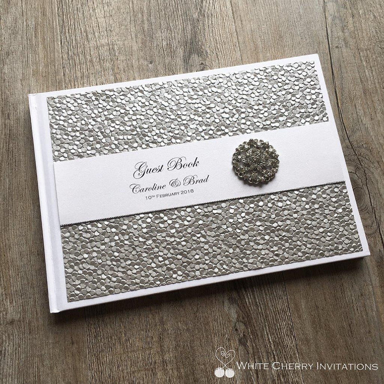 Silver Pebbles Wedding Guest Book - White Cherry Invitations