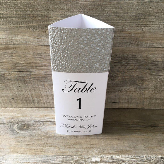 Silver Pebbles Tri Fold Wedding Menu - White Cherry Invitations